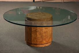 burl olive wood glass top table by edward wormley for dunbar