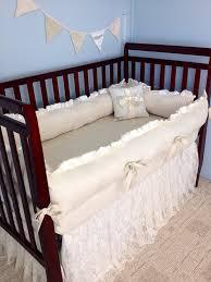 Pottery Barn Ruffle Crib Skirt Lace Baby Crib Bedding Ivory Cotton And Minky Ruffled Lace
