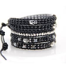 black leather wrap bracelet images 5 layer black glass with antique silver skull beads wrap bracelets jpg