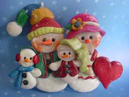 polymer clay ornament snow family snowman