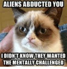 Cat Alien Meme - aliens abducted you idionit know they wanted the mentally