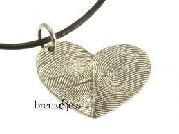 Custom Heart Necklace Sterling Silver Custom Double Thumbprint Heart Necklace Custom
