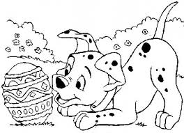 sweet puppy playing decorative egg 101 dalmatians coloring pages