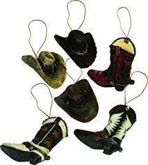 cowboy tree ornaments 4 set home