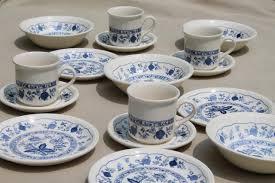 biltons blue vintage china breakfast dishes set