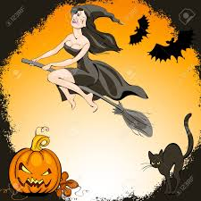 pretty halloween pictures halloween set pretty witch on a broom and bat flies over the