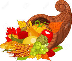 illustration of a thanksgiving cornucopia of harvest fruits