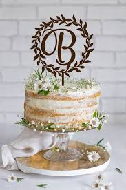 wedding cake topper wreath initial wedding cake topper