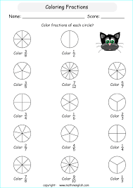 fraction printable worksheets color fractions in basic shapes introduction to understanding