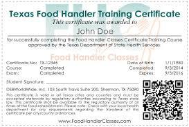 food handler classes food handler certificate samplesample