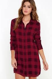 bb dakota kendrick dress wine red plaid dress shirt dress