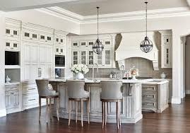 kitchen with island and breakfast bar gray wash curved kitchen island breakfast bar with gray leather