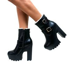 heeled biker boots ladies chunky bloque tacón alto botas al tobillo cleated suela