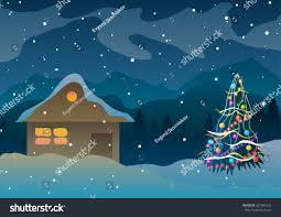 house snow mountains near christmas tree stock illustration