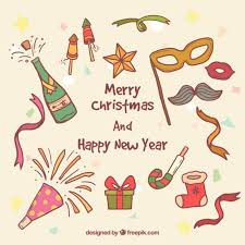 hand drawn christmas and new year party elements vector free