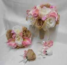 free shipping flowers wedding silk flower bridal bouquet 18 pieces package ivory