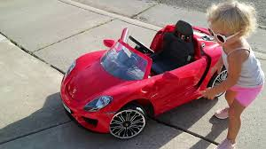 pink porsche convertible toddler play driving kid u0027s car red porsche 918 convertible youtube