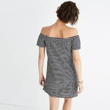striped melody off the shoulder dress casual dresses madewell