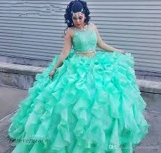 aqua green quinceanera dresses 2017 mint green two pieces quinceanera dress princess cascading