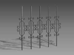 ornamental iron fence panels 3d model 3dsmax 3ds autocad files