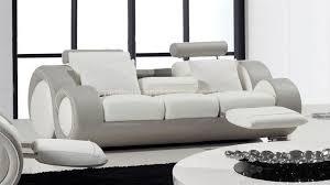 canape cuir blanc et gris cuir design 3 places