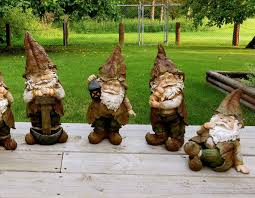 set of 4 woodland garden gnomes lawn ornaments yard decor