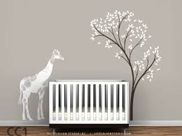 Tree Wall Decor For Nursery Baby Floral Giraffe And Tree Wall Decal Mural Baby