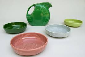 vintage pottery 50s colors chartreuse gray and