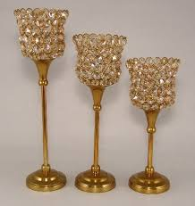 Crystal Candle Sconces Crystal Bead Votive Candle Holder With Antique Gold Finish Stem 10