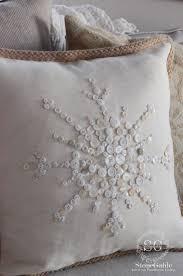 no sew snowflake button pillow stonegable