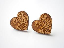 wooden stud earrings wood stud earrings vintage ornament medium size laser cut wood