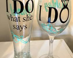 his hers wine glasses i do what she says etsy