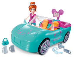cartoon convertible car polly pocket convertible car with doll and accesories giftset
