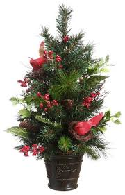 potted pine cone cardinal and berry pine artificial tree