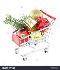christmas gifts shopping trolley isolated on stock photo 159828932