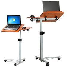 Computer Desk On Wheels Topeakmart Adjustable Wood Overbed Laptop Computer Table Desk
