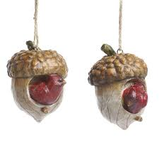 cardinal and acorn birdhouse ornament ornaments