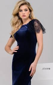 jovani dresses womens velvet navy fitted dress with lace cap