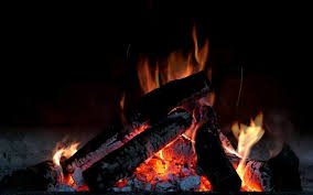relaxing fireplace sound with distant thunder wind through the