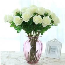 artificial flowers for home decoration white 10 branch silk white roses wedding party decoration home