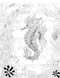 fantasy zen inspired art sea horse ocean coloring page digi