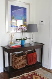 Modern Entryway Furniture by Superb Grey Drum Shade Table Lamp On Brown Wooden Entryway Table