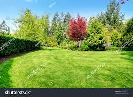 beautiful green farm house backyard green stock photo 177038729