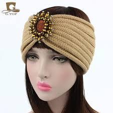 knit headband 2017 new gold beaded sparkly flower knit headband knitted ear