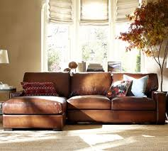 Leather Chaise Sofa Ship Turner Square Arm Leather Sofa With Chaise Sectional