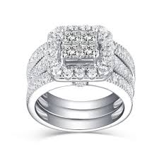 silver bridal rings images Women 39 s princess cut white sapphire 925 sterling silver bridal jpg