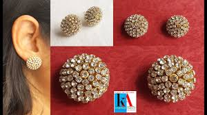 make stud earrings how to make silk thread stud at home step by step tutorial