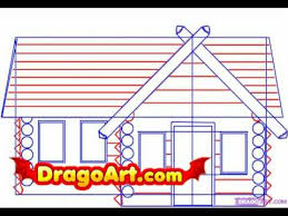 log cabin drawings how to draw a log cabin step by step youtube