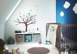 hibou chambre bébé design interieur déco chambre bébé blanc bleu hiboux nuages