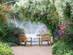 garden pool fountain wallpaper nature and landscape wallpaper